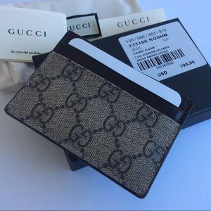 efcf58ca8d27ef ... Gucci GG supreme canvas ebony beige card case Burberry Brit men's ...